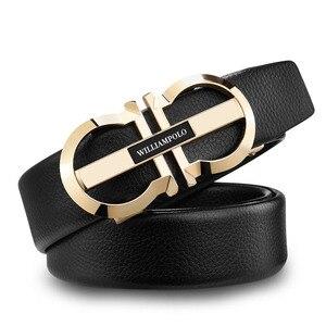 Image 3 - WILLIAMPOLO Luxury Brand Designer Leather Mens Genuine Leather Strap Automatic Buckle Waist Belt Gold Belt PL18335 36P