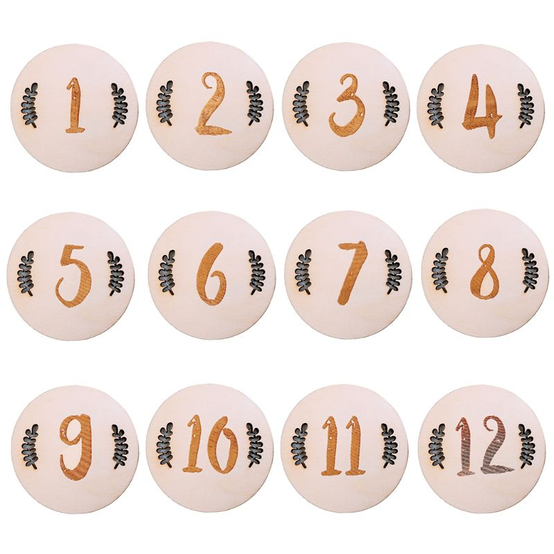 Newborn Baby Birth Month Record Wood Card Memorial Milestone Cards 72XC
