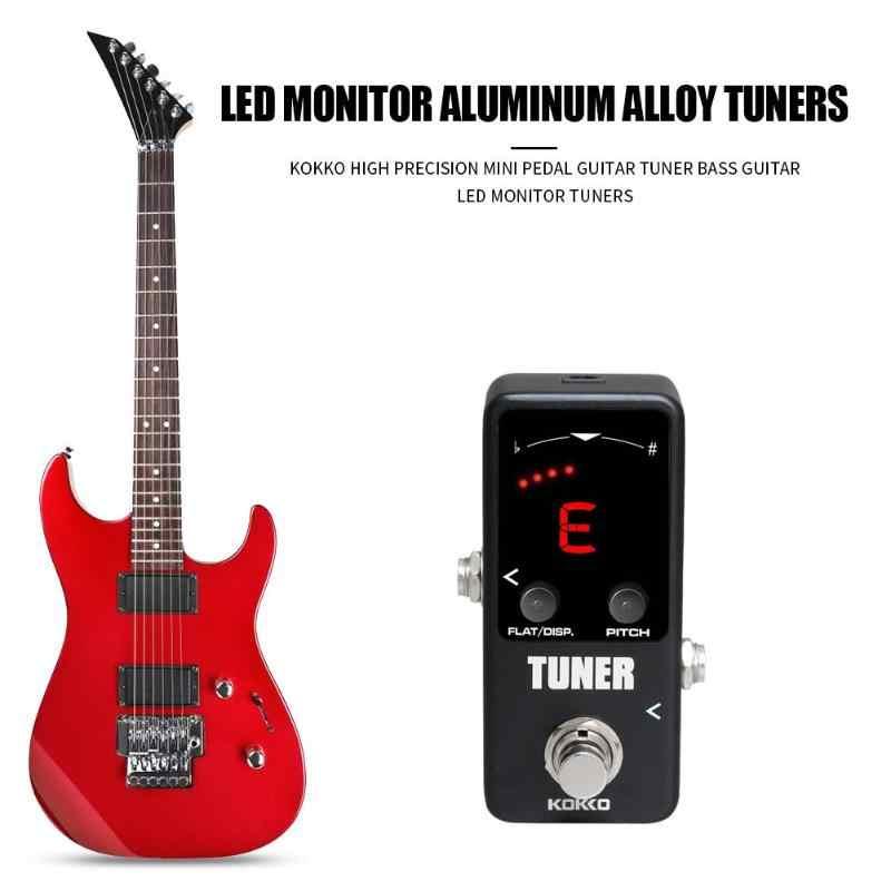 KOKKO Mini Pedal bas gitar Tuner etkisi kompresör güçlendirici yüksek hassasiyetli gitar LED ekran Tuner müzik aletleri