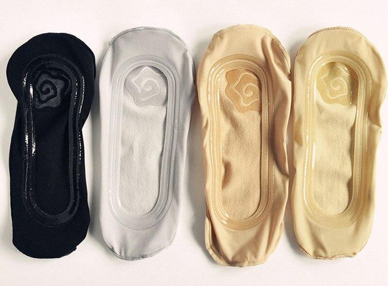 Fashion Women's Socks Silicone Non-slip Trace Cute Solid Ice Silk Rose Flower Cotton Black Grey Flesh