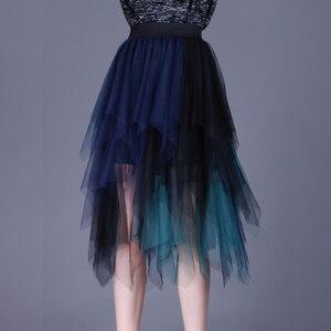 Image 4 - SETWIGG מתוקה רב צבע טול טלאים ארוך סדיר חצאיות אלסטי להקת המותניים אונליין צבעוני רשת קפלים אמצע עגל חצאיות