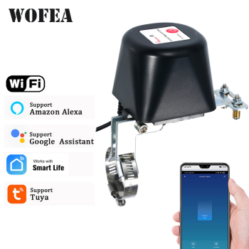 Wofea Tuya Wifi Smart Valve Controller For Water Gas Pipeline Auto Shut ON Off Compatible With Alexa Google Assistant SmartLife