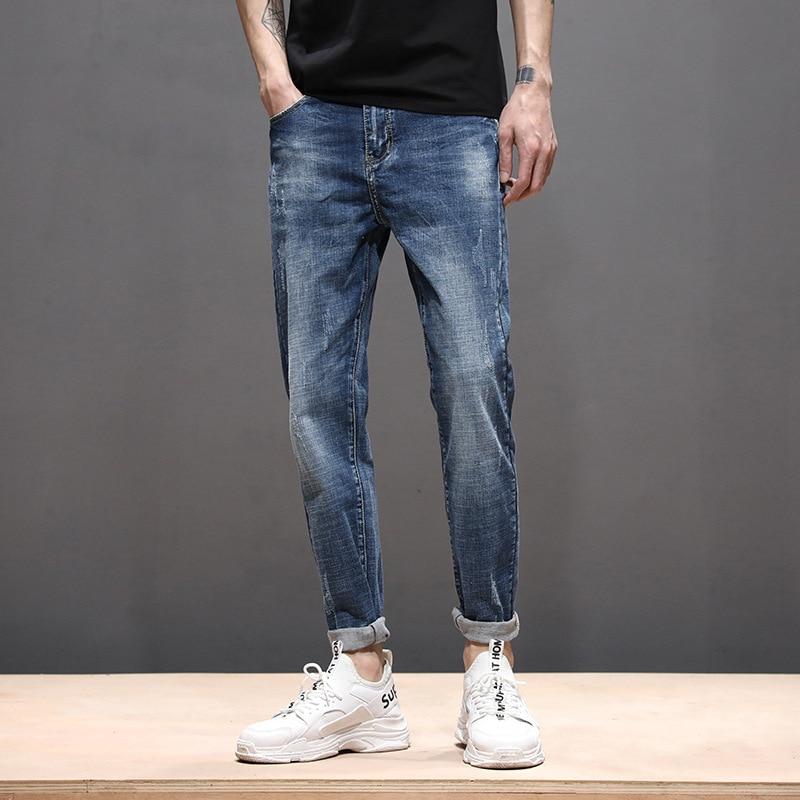 2019 Jeans Men Simple Fashion Casual Long Pants Trend Slim Fit Elasticity Pencil Pants Pants Manufacturers Direct Selling