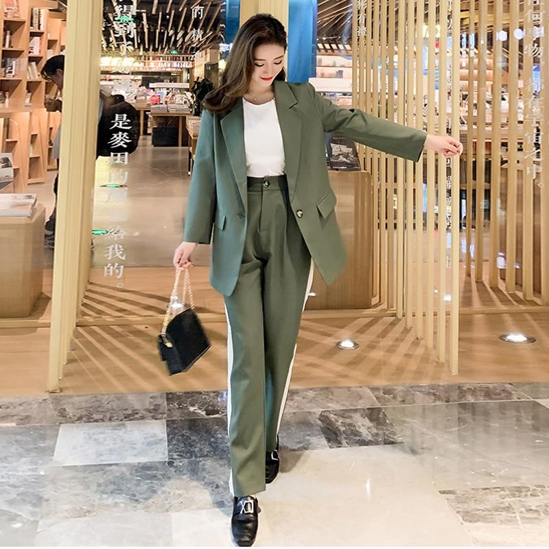 2019 Women's Suit Set Casual Pants Set Korean Version Of The Autumn New Fashion Solid Color Suit Blazer Two-piece Loose Trousers