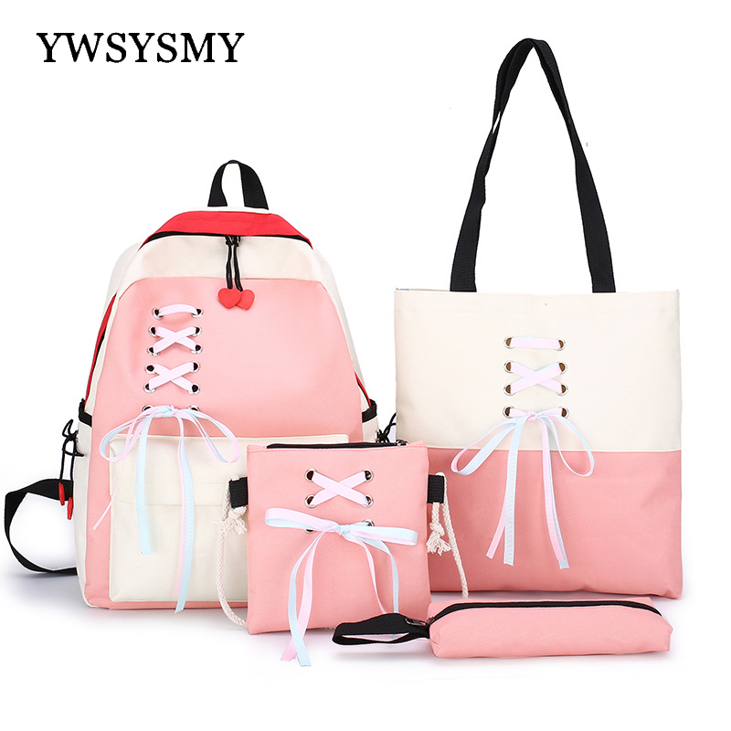 Fashion Lace Up Girls Backpack Children School Bags Lightweight Shoulder Bags Female Backpack Canvas Women Bags Travel Backpack