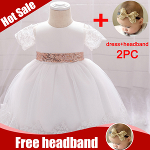 2020 Baby Girl Dress White Newborn 1st Birthdays clothing For Kids Clothing Infantil Girl Clothes Baptism Princess Dress Vestido(China)