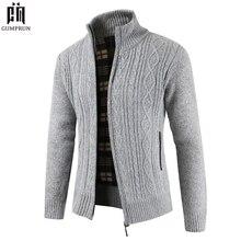 Marca de Moda de Nova Blusas Grossas Homens Casaco Cardigan Slim Fit Jumpers Knit Zipper Inverno Quente do Estilo do Negócio Roupas Masculinas