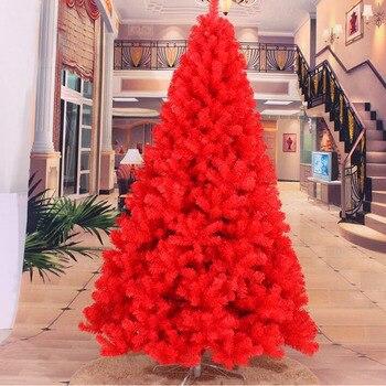 150CM 180CM 240CM alto de lujo cifrado rojo árbol de Navidad Pino pesado Artificial PVC Ximas árboles de Navidad decoración de Año Nuevo