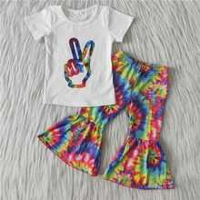 Alta qualidade crianças roupas menina verão boutique venda quente estilo gesto tie-dye imprimir raglan camisa queimado calças 2 peças conjunto
