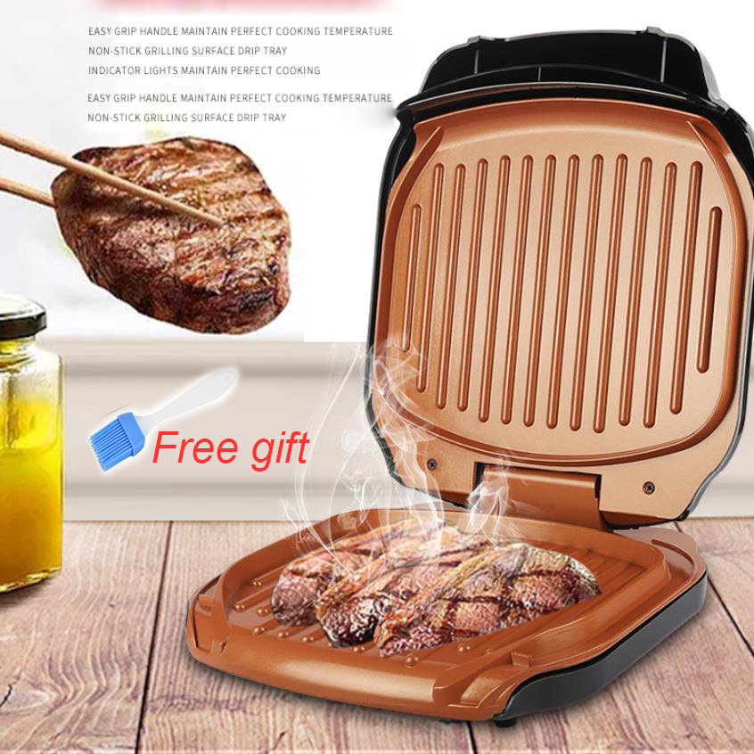BBQ Steak Hamburger Grill 220V EU Barbecue Meat Roaster Breakfast Machine Egg Frying Pan Panini Sandwich Maker Bread Oven Plate image