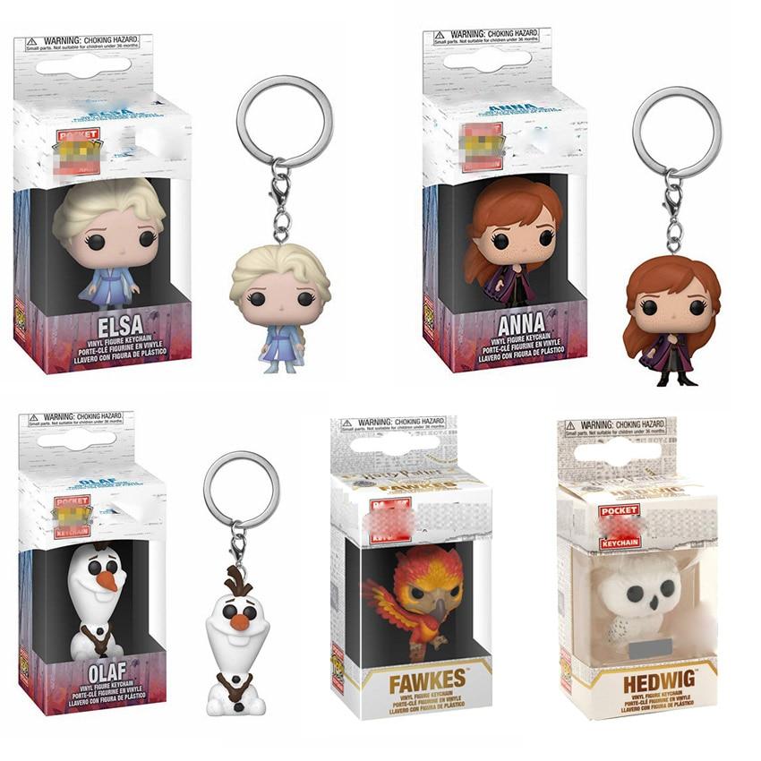 Funko Pop HP7 Harri Hedwig Fawkes Keychain Toys Disney Olaf Anna Elsa Princess Figurine Key Ring Pendants Toys South Park Kenny