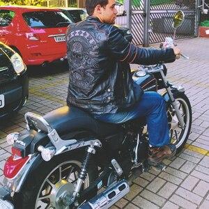 Image 3 - Schwarz Stickerei Schädel Motorrad Leder Jacken 100% Natürliche Rindsleder Moto Jacke Biker Leder Mantel Winter Warme Kleidung M219