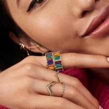 2019 Trendy colorful zircon ring women girls multicolor rainbow thin line design chain fashion female summer jewelry gift