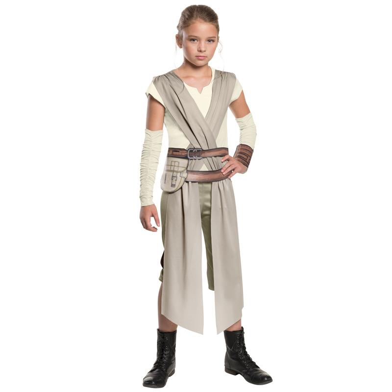 Kids Girls The Force Awakens Star Wars Rey Cosplay Costume Girls Fancy-Dress Movie Character Carnival Role Playing Clothes
