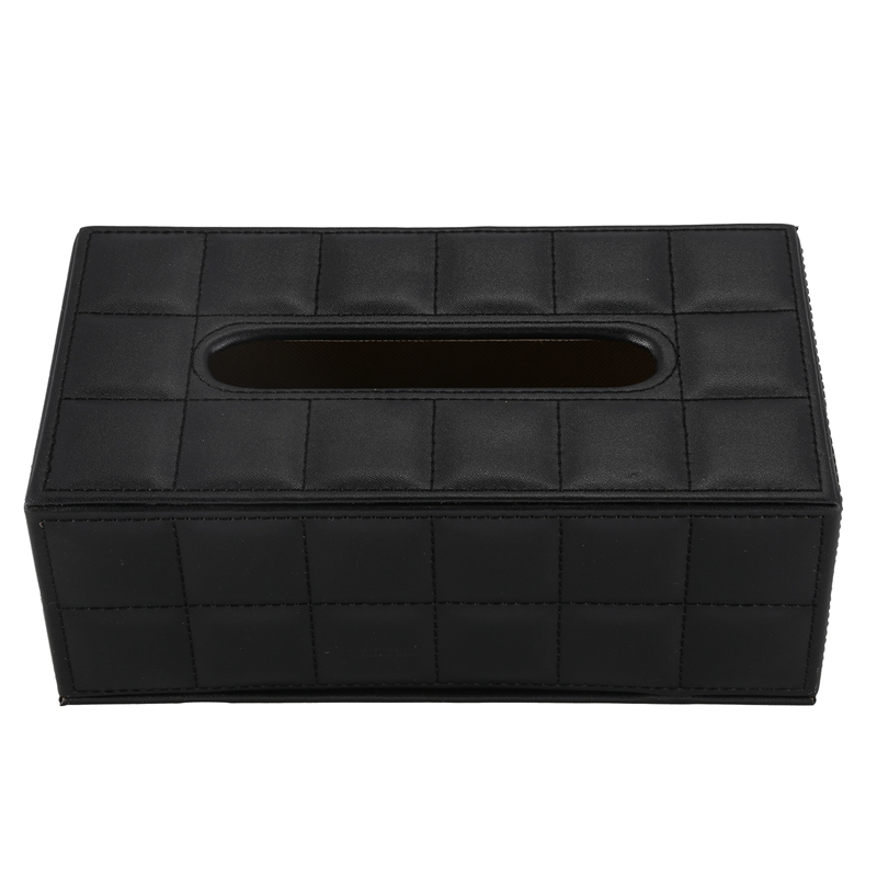 Durable Home Car Rectangle PU Leather Tissue Box Paper Holder Case Cover Napkin black