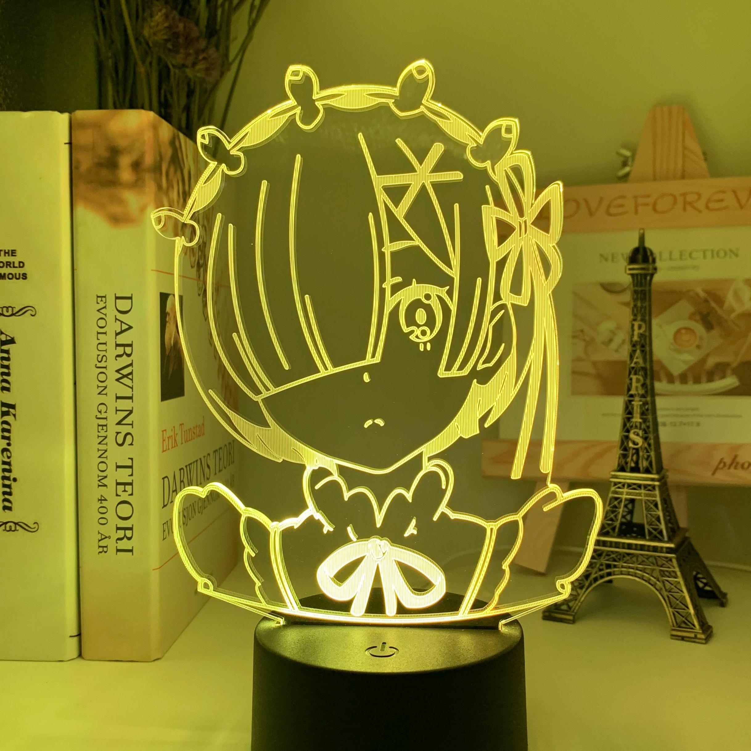 H21aa01261fad4a70a1ee0c83bad5b7f6S Luminária Anime rem re zero starting life in another world figura luz da noite led sensor de toque mudança cor do bebê nightlight para decoração do quarto lâmpada mesa 3d manga presente