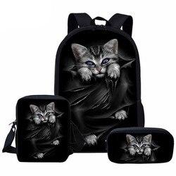 3 sztuk/zestaw torby szkolne dla dziewczynek chłopców ładny czarny kot 3D drukuj dzieci ortopedyczne plecak dla dzieci Student torba na książki Mochila Infantil