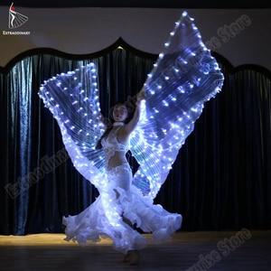 Image 3 - Neue Frauen Bauchtanz Isis Flügel Led Dance Schmetterling Flügel Licht Up Lampe Requisiten Weiß Stafe Leistung 360 Grad Sticks