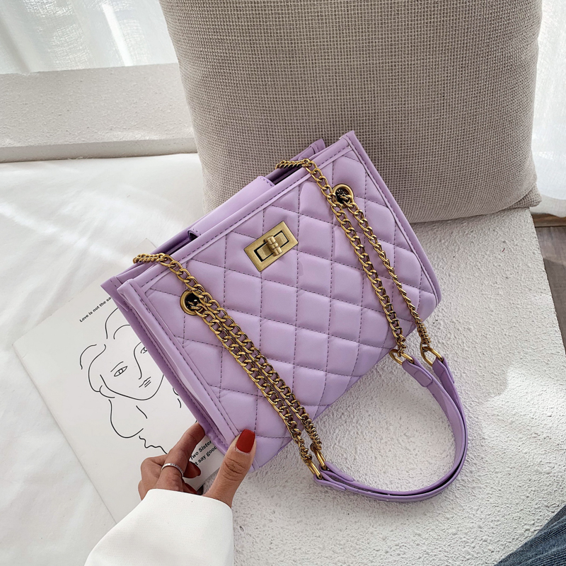 Purple Large Shoulder Bag Women Travel Bags Leather Pu Quilted Bag Female Luxury Handbags Women Bags Designer Sac A Main Femme