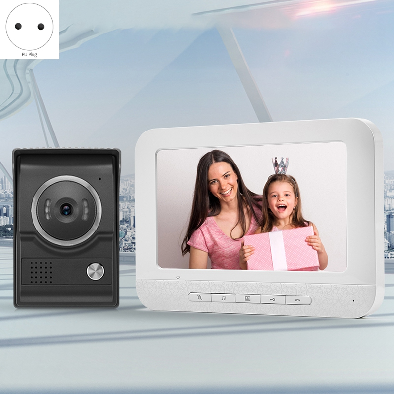 ABHU-7-Inch Wired Video Doorbell Video Intercom Rain Camera Video Intercom Two-Way Audio Remote Unlock Video Doorbell EU Plug