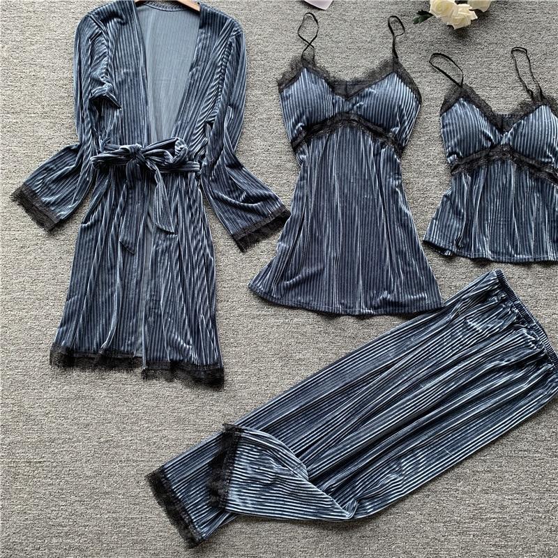 QWEEK Sexy V-neck Spaghetti Strap Pyjamas Women with Chest Pads Winter Velvet Warm Pajamas Korean Sleepwear Women 4 piece Set