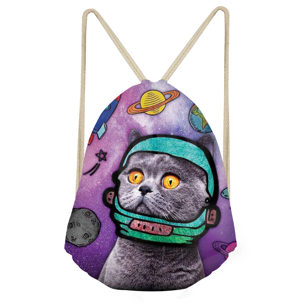 Cat Drawstring Bag Animal Drawstring Bags 3D Printed Polyester Sport Shoes Bag Backpack Eco-Friendly Beach Bag Bolsa Colorful