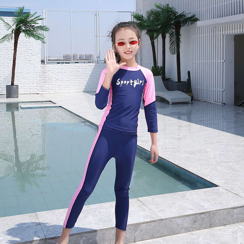 Children Color Diving Suit Sun Protection Clothing Long Sleeve One-piece Girls BOY'S Universal Swimsuit Jellyfish Clothing Snork