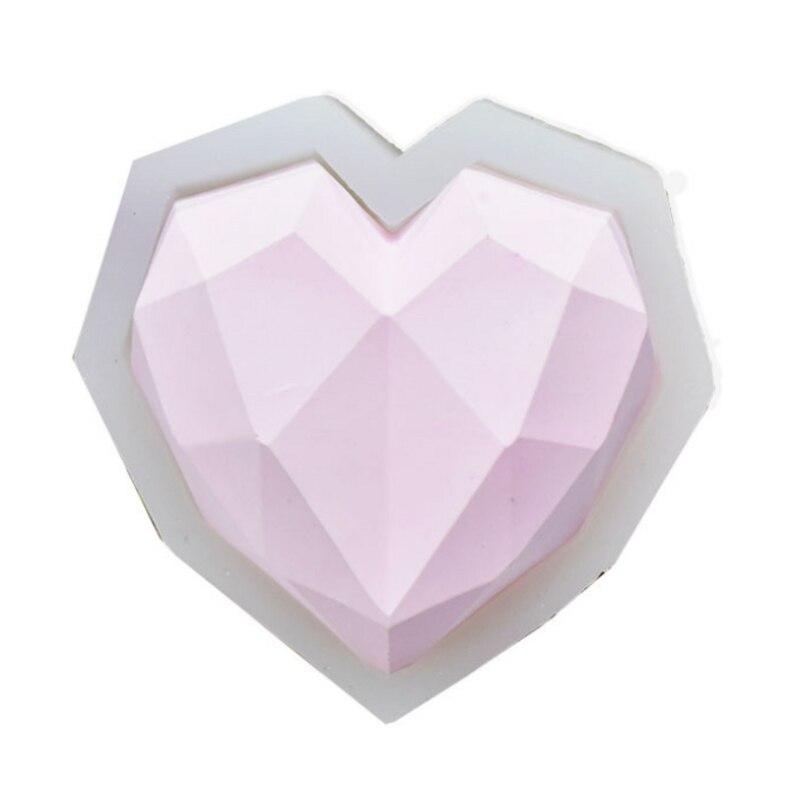 1Pcs Geometric Heart Nordic Geometric Shaped Decorative Baking Mold Heart Love Fondant Cake  Silicone Mould Chocolate Tool