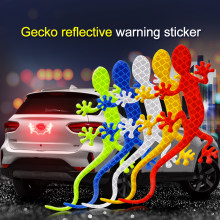 2Pcs Car Reflective Sticker Safety Warning Mark Reflective Tape Auto Exterior Accessories Gecko Reflective Strip Light Reflector(China)