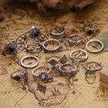 15 шт./упак. старинное Миди палец кольцо комплект в богемном стиле черный камень винтажные кольца в стиле панк, модное ювелирное изделие для ж...