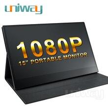 Uniway 15.6 휴대용 모니터 1080 IPS 스크린 USB 유형 C HDMI 디스플레이 PC 노트북 Ps4 스위치 Xbox 게임 모니터