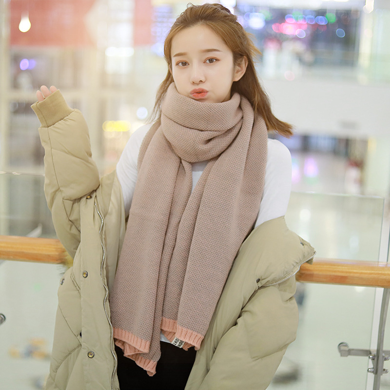 2019 New Style Small Pineapple Clinch Scarf Women's Faux Cashmere Korean-style Knitted Yarn Thick Warm Scarf