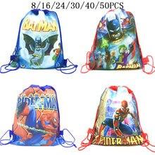 8/16/24/50 шт в наборе, Disney супергероев мультфильмов «Человек-паук», «Бэтмен» женские сумки на завязках для маленьких девочек с «подарок» или «...
