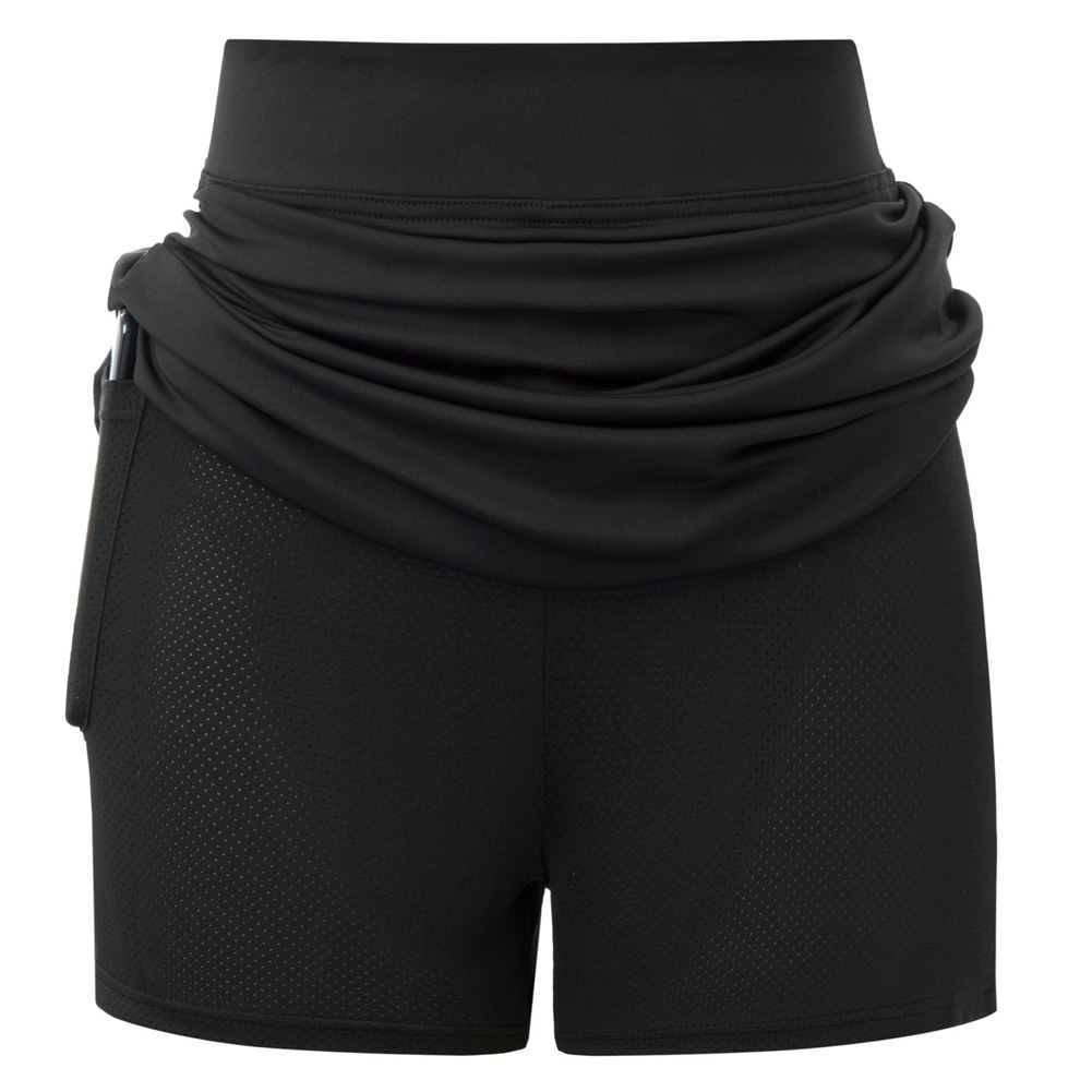 Women's Fashion Solid Color Elastic Waist Stretchy Athletic Sports Skort With Mesh Shorts Ladies Causal