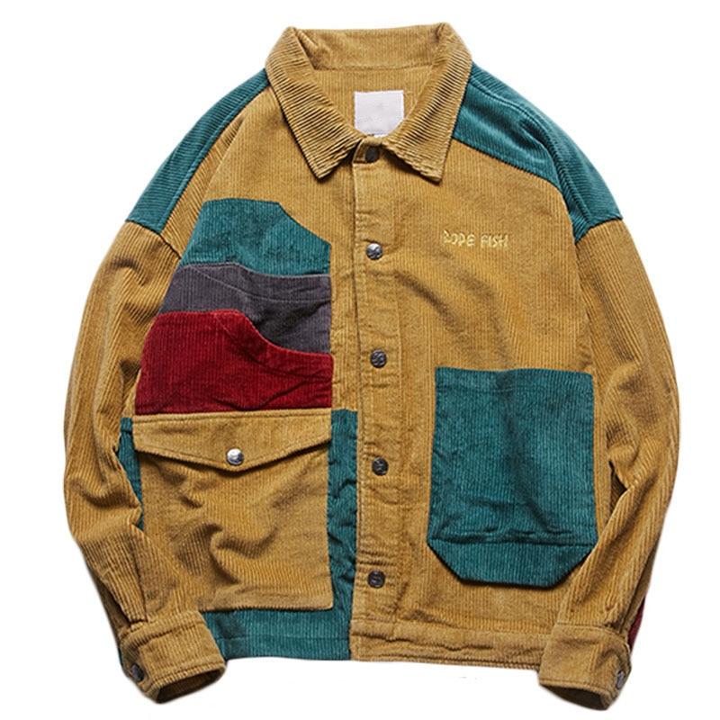 Outwear Men Corduroy Coat Pockets Patchwork Autumn Casual Fashion