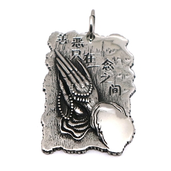 Unisex 316L Stainless Steel Big Pray hands Pendant Chain image
