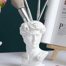 Statue Planter Vase-Desk-Decoration Pencil-Holder Sculpture Makeup-Brush Officer Unique