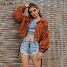 2019 Autumn Jacket Fashion Streetwear Women Corduroy Basic Short Coat Solid Turn Down Collar Long Sleeve Outwear Overcoats Brown cheap CROPKOP Loose Turn-down Collar Single Breasted Outerwear Coats Full REGULAR G61JK2122 STANDARD Jackets Polyester spandex