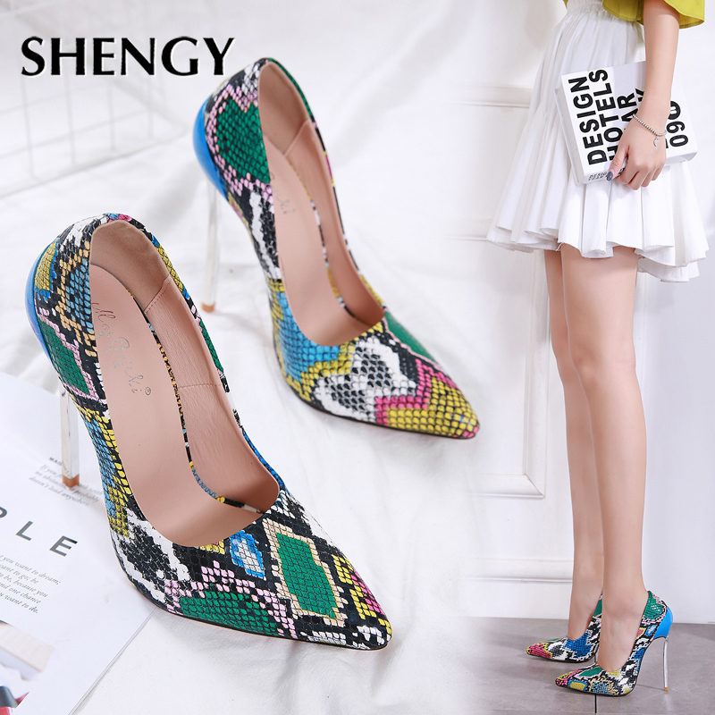 2020 Women Summer High Heel Shoes 13cm Fashion Snake Thin Heel Ladies Leather Shoes Business Party Pointed Toe Pumps Shoes