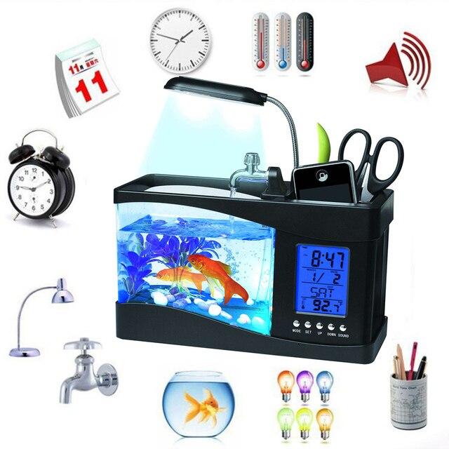 Mini Fish Tank Desktop Fish Tank Aquarium USB Multi-functional  Fish Bowls LCD Display Screen Calendar Clock Aquarium Tank  D30 4