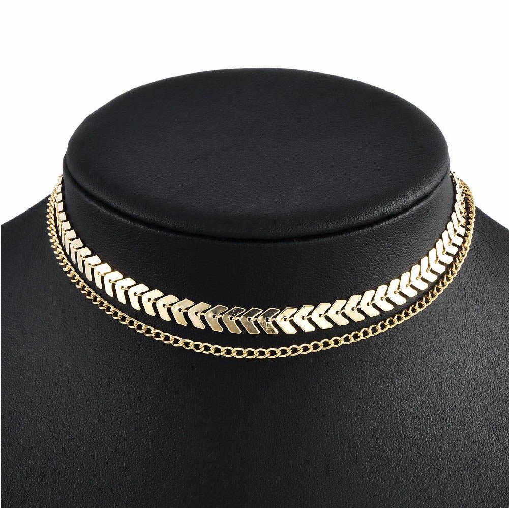 Altın Rengi Metal Iki Katmanlı Gerdanlık Kolye Kılçık Zincir Basit Takı Collana Kolye Bijoux Collares Mujer Collier Femme