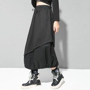 Image 5 - EAM jupe taille haute élastique noir, cordon de serrage, Joint fendu, tempérament demi corps, nouvelle mode pour femmes, printemps automne 2020 1D732