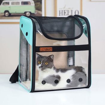 Pet dog backpack cat carrier outdoor pvc breathable space travel bag foldable cat transporter shoulder with soft cotton cushion