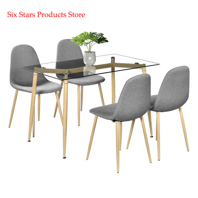Simple Wood Grain Table Leg & Transparent Tempered Glass Dinner Table Minimalist Coffee Table Side Furniture Living Room Table 1
