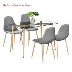 Pata de la Mesa de grano de madera Simple y mesa de cena de cristal templado transparente mesa de centro minimalista muebles laterales mesa de sala