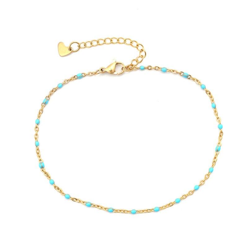 2019 Fashion Multicolor Stainless Steel Anklet Enamel On Foot Ankle Bracelets Women Men Trendy Leg Link Chain Jewelry 23cm ,1PC