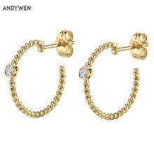 Женские круглые серьги кольца andywen большие 19 мм из стерлингового