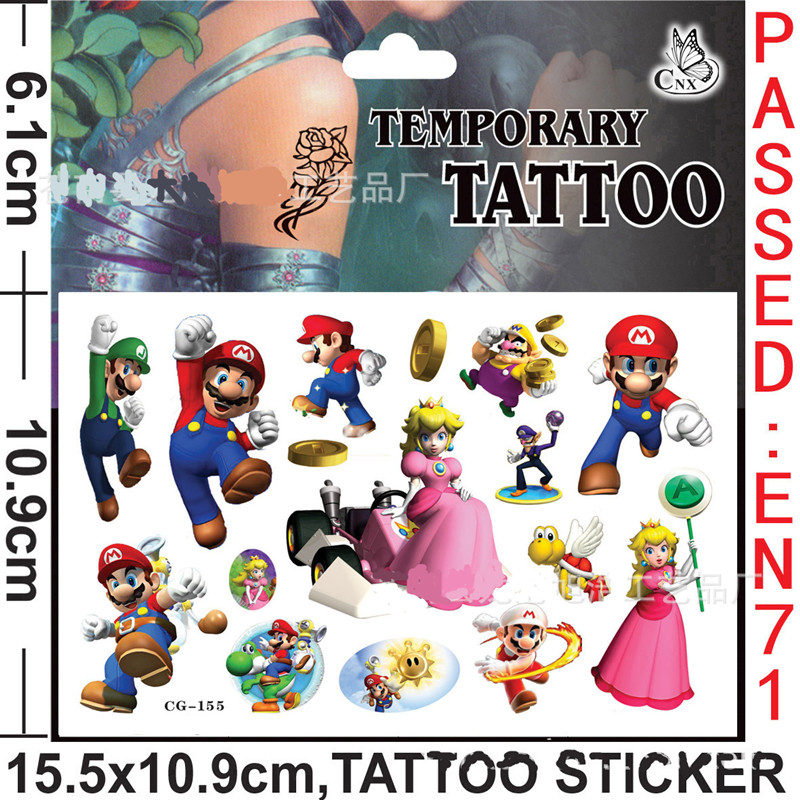 Random 2pcs Super Mario Bro Temporary Tattoo Sticker For Children Body Art Fake Flash Gifts Tatoo Cartoon Kids Boy Toys