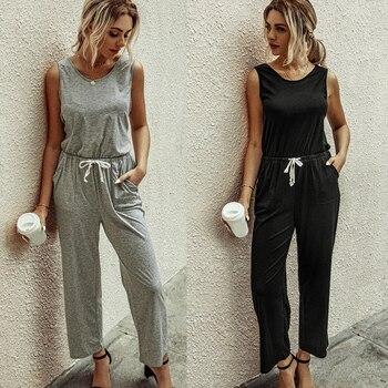цена на Female rompers fashion Casual Lace-up Jumpsuit round neck sleeveless solid pocket wide Leg Pants ladies Elegant Jumpsuits D30