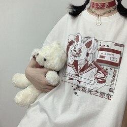 Vintage anime dos desenhos animados t camisa das mulheres tiktok roupas góticas tshirt streetwear imprimir solto tops dropshipping verão preto camiseta